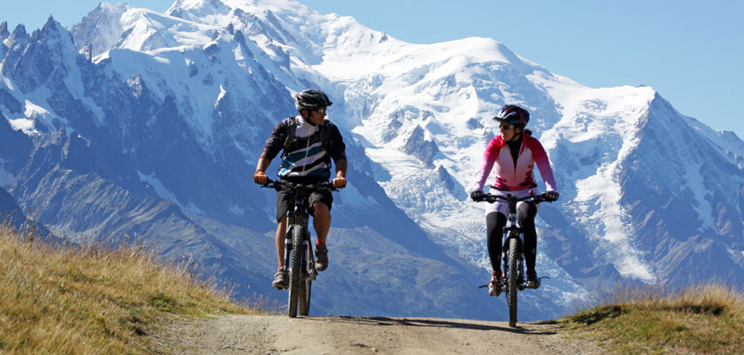 Chamonix, France - Cyclists with a mountain backdrop.jpg